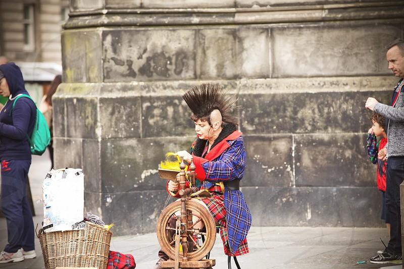 Punk Mohawk street life. Edinburgh  photo