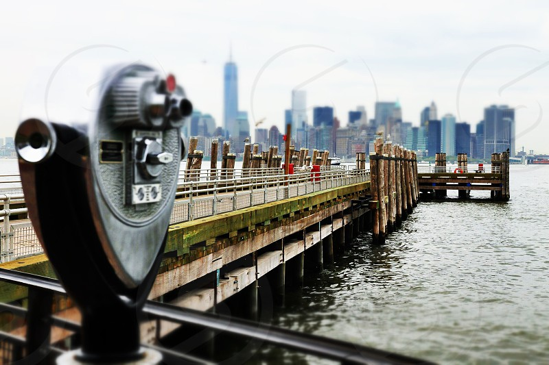 Liberty island United States bridge magnify photo