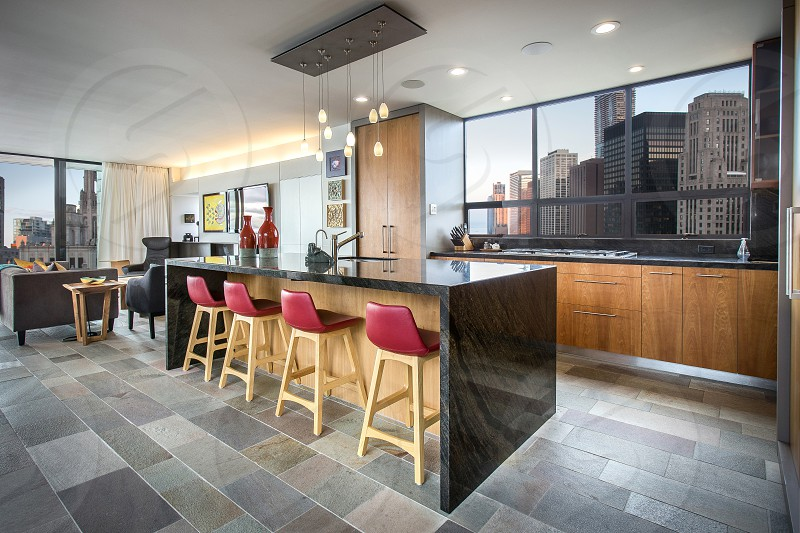 Modern kitchen in a downtown high rise. photo