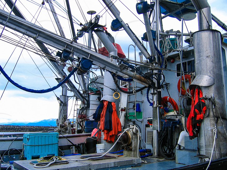 From where I work on a fishing trawler boat moored in Homer Bay Alaska photo
