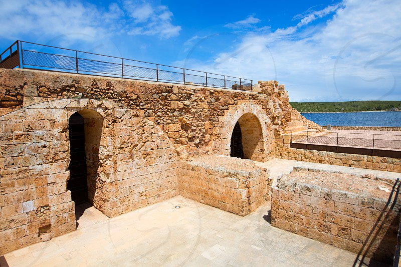 Fornells Castle fortress in Menorca at Balearic islands of Spain photo