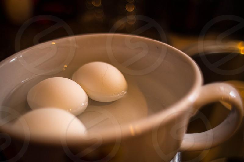 white boiled eggs photo