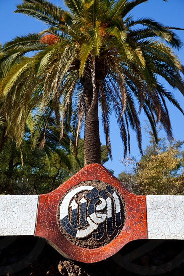 Barcelona Park Guell  name written in mosaic of Gaudi modernism photo