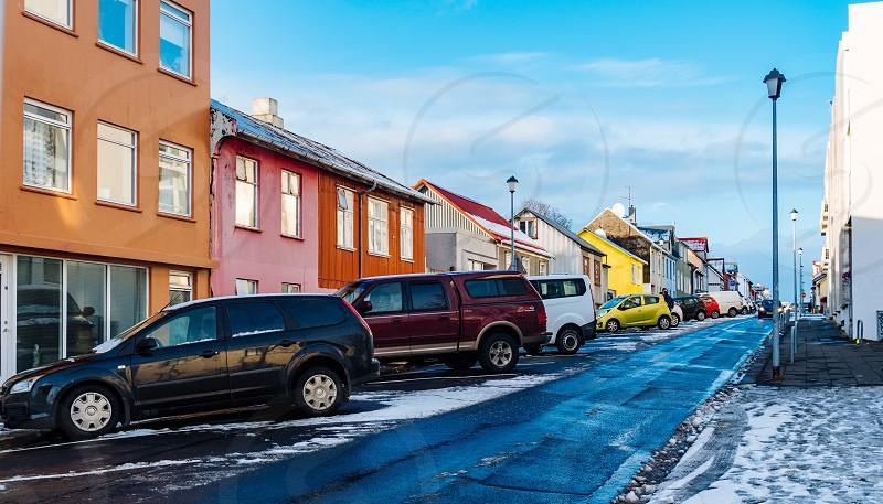 Colorful street in Reykjavik  photo