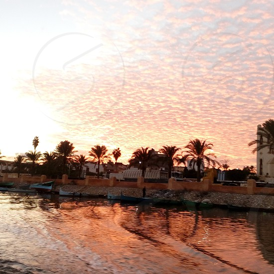 sunset of the bank of nile river photo