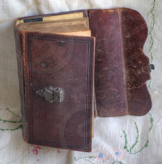 Antique Book. Old Dutch bible. photo