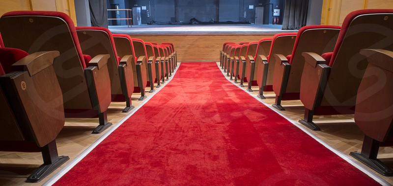 Red seats in a theater and opera photo