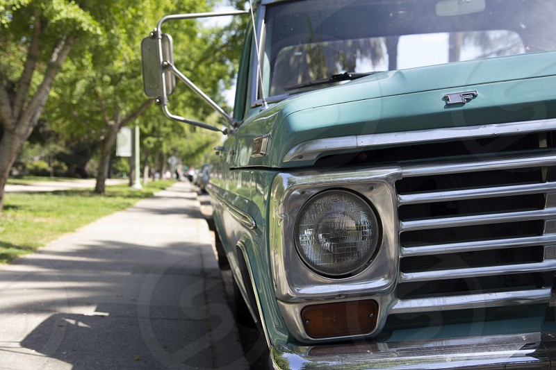 classic ford pickup truck green photo