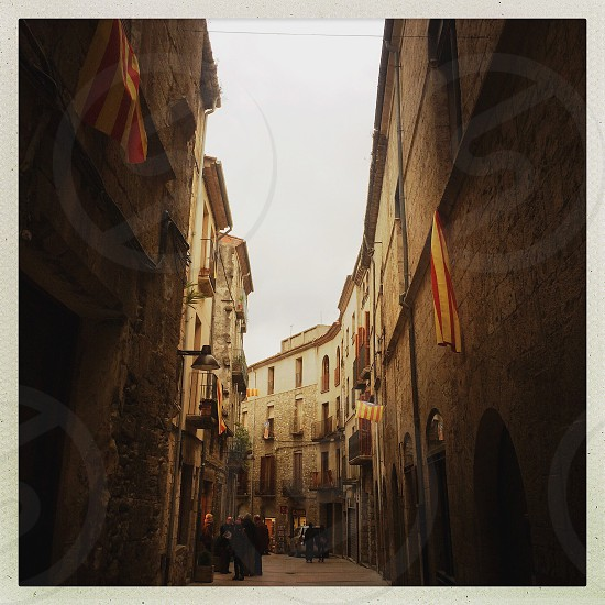 A side street in the medieval-era Catalan town of Besalu Spain. photo