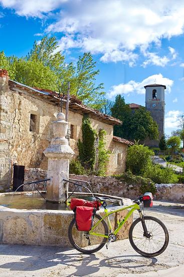 Villambistia in Saint James Way by Castilla Burgos with pilgrim bike photo