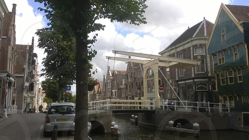 Netherlands Europe Alkmaar Bridge Houses Architecture Clouds Sky Travel photo