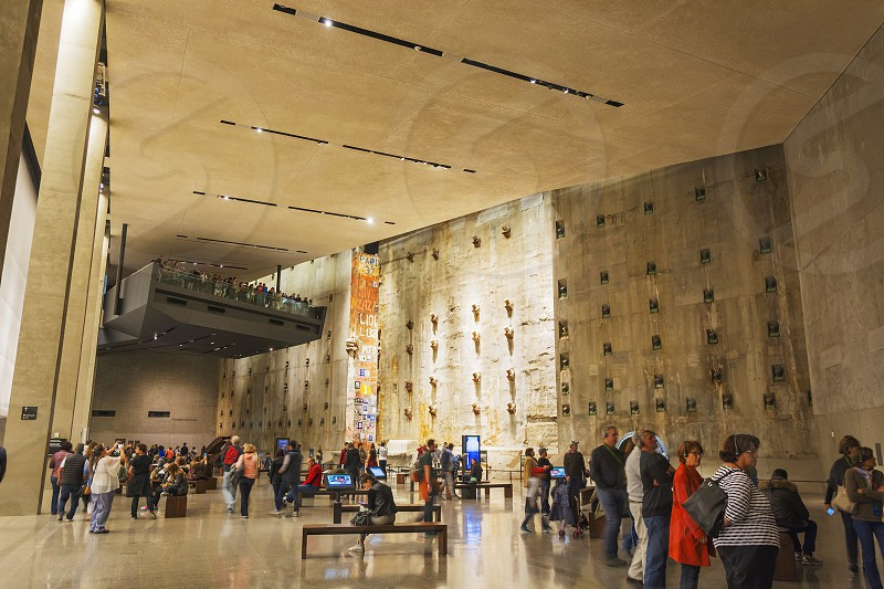 New York USA november 2016: interior with visitors of the 9/11 memorial museum in New York photo