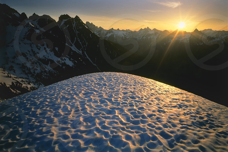 North cascades sunrise sunset Mt. Baker wilderness. Mt. winchester photo