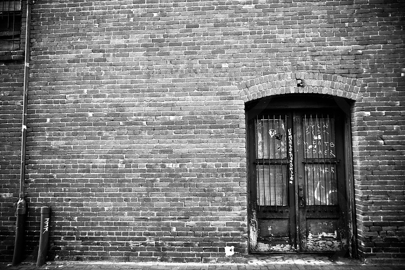 black and gray brick style wall photo