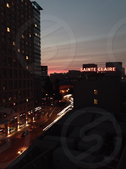 Downtown San Jose CA at sunset photo