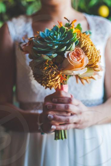 Bouquet succulents wedding adventure nature flowers hands  photo