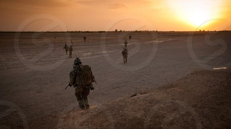 M Company 42 Commando Royal Marines on patrol in Helmand Province Afghanistan photo