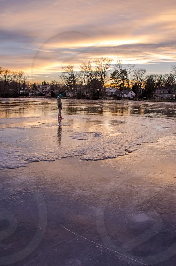Sunset on ice photo