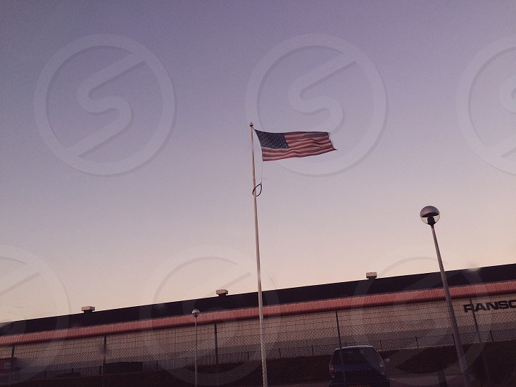 USA. Flag. America. Sunset. Stars and Stripes. photo