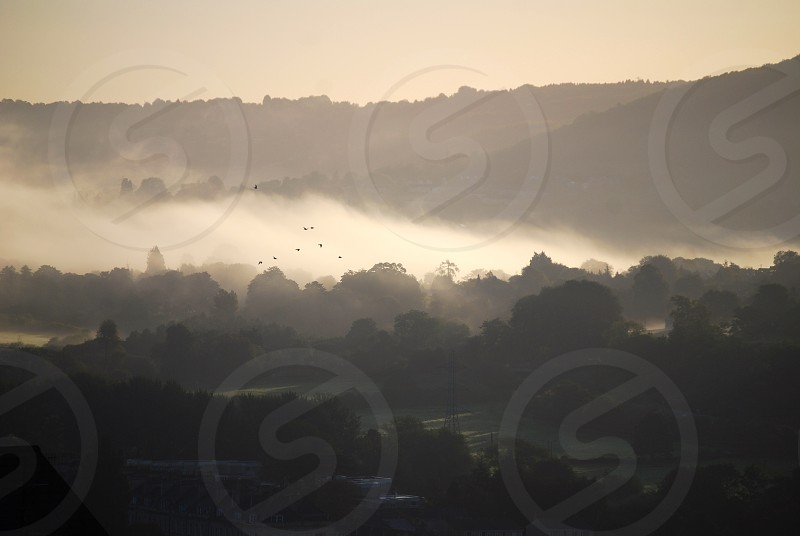 Early morning mist over landscape photo