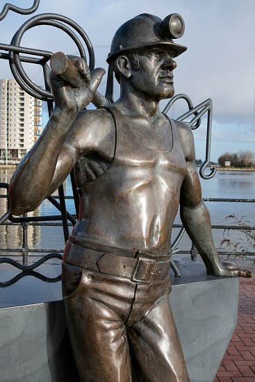 Pit to Port Coal Miner Sculpture Cardiff Bay photo