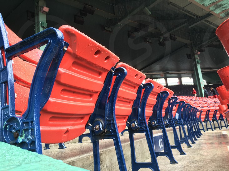 Fenway baseball stadium seats rain photo
