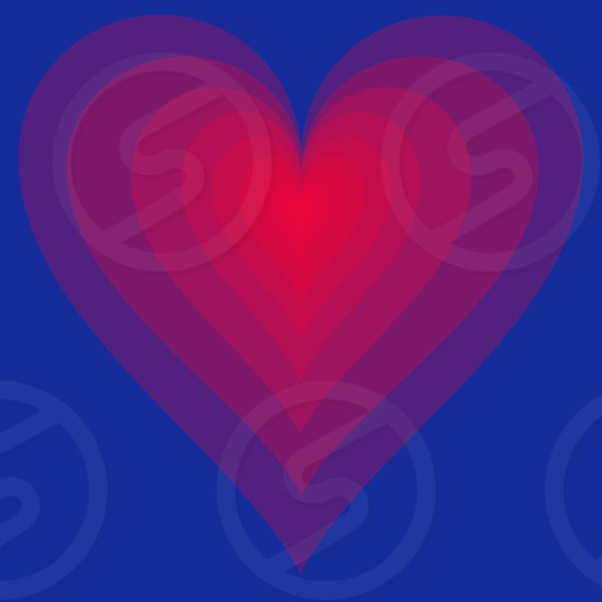 red pink and purple layered heart on blue background photo