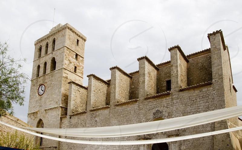 church from ibiza Castle Santa Maria Cathedral dalt Vila photo