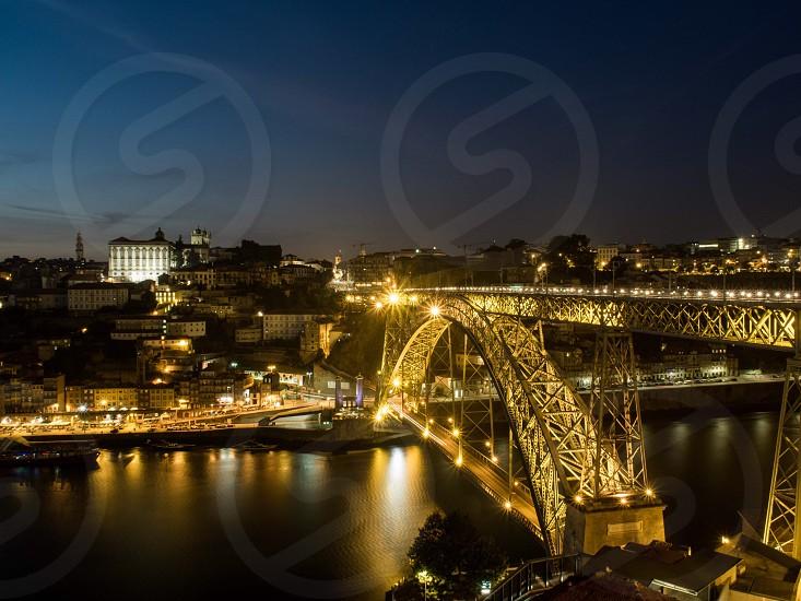 Portugal Porto cityscape river Europe bridge night illuminated  photo