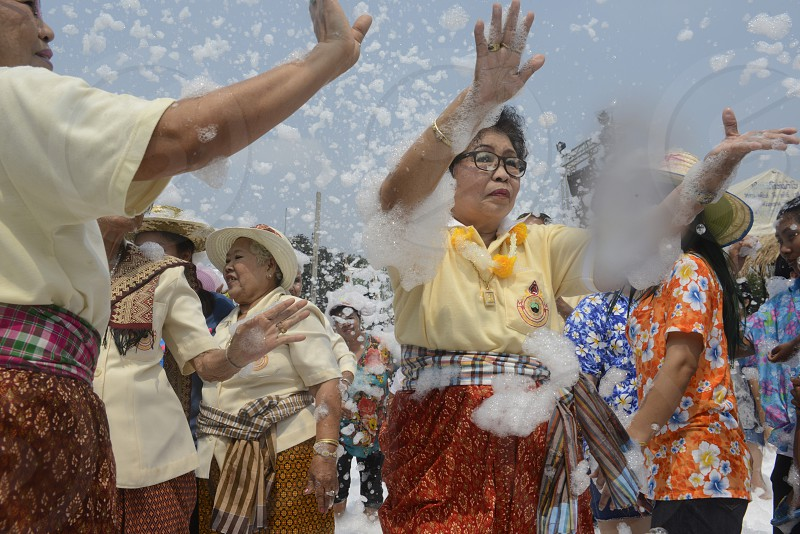 The Thai New Year or Songkran Festival or Water festival in the city of Ayutthaya north of Bangkok in Thailand in Southeastasia.    photo