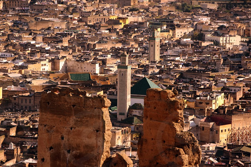 The Medina of old City in the historical Town of Fes in Morocco in north Africa. photo