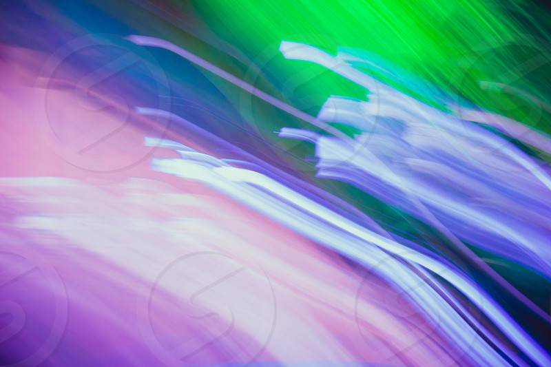 Streaks of light colored. Glowing abstract lines. Green blue purple and pink colors. photo