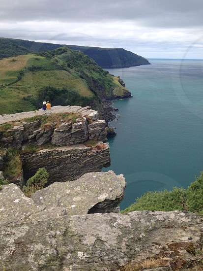Couple overlooking valley of the rocks Devon photo