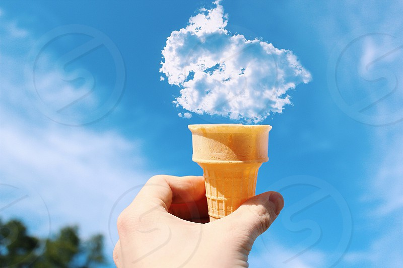Look! I made a cloud cone! Who wants one?  photo