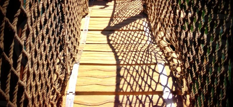 Rope and barrel bridge photo