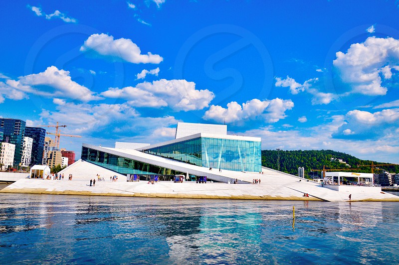 Exterior building showing modern architecture style of Opera House Oslo Norway photo