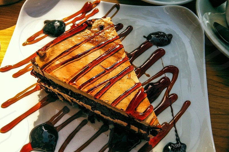 food cake caramel sweets dessert snack chocolate photo
