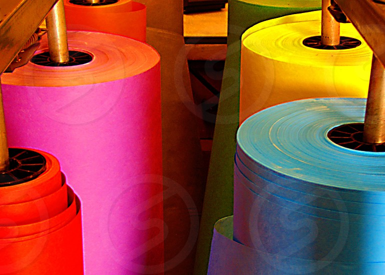 Colorful rolls of butcher paper used in classrooms photo