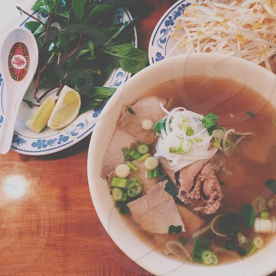 noodle soup with tofu photo