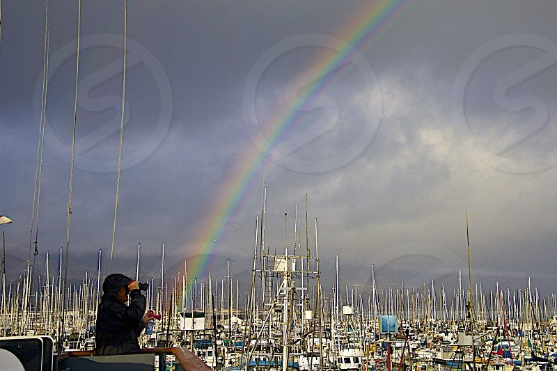 A sailing race might have been happening but this rainbow made the day photo
