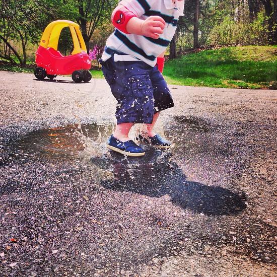 child's blue shorts photo