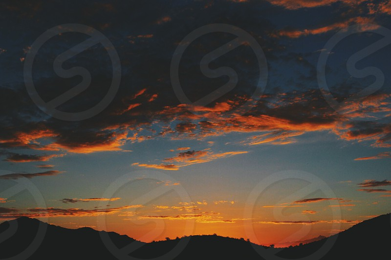 sunset and mountains photo