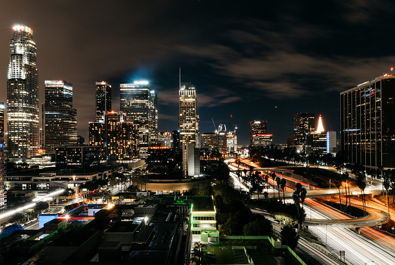 Downtown Los Angeles at night after the rain. photo