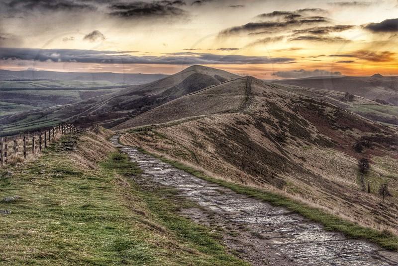 Sunrise at The Great Ridge Derbyshire. photo