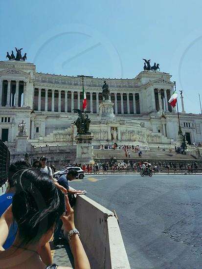 MonumentRomesquaretouristssummerblue sky Piazza Venezia photo