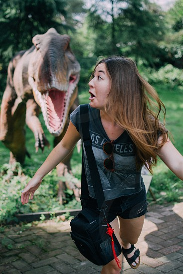 China travel scared funny dinosaur zoo photo