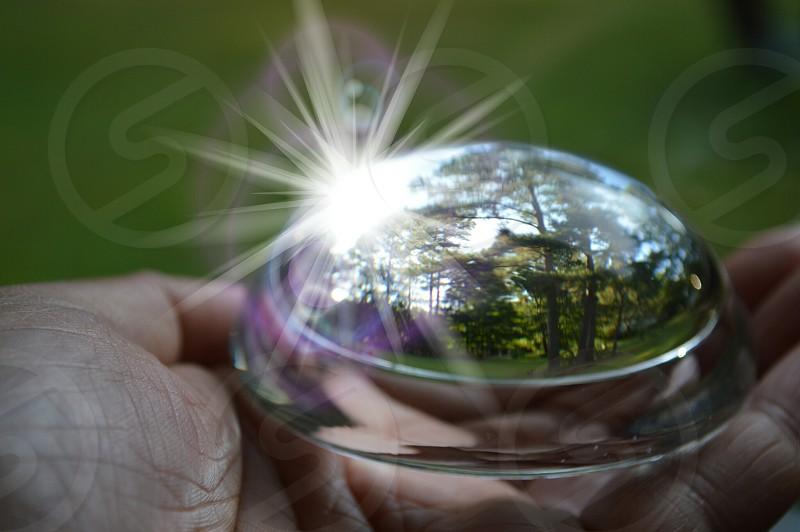 silver round mirror ornament photo