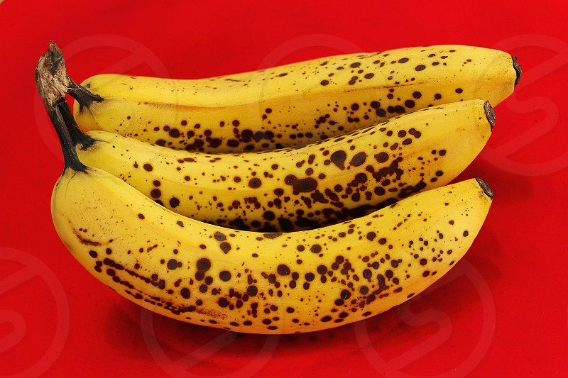 A bunch of bananas on a red background photo