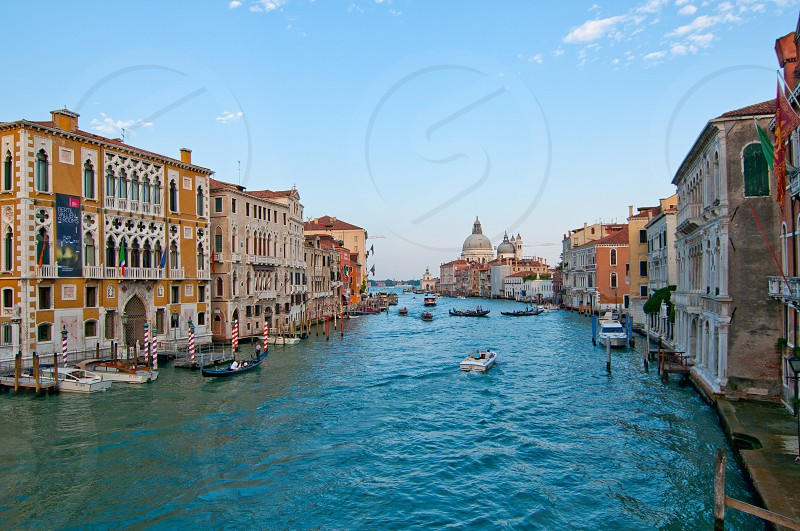 """Venice Italy grand canal view from the top of Accademia bridge with """"Madonna della Salute"""" church on background photo"""