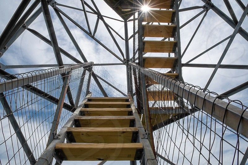 Tower stairs stairway sky geometry architecture.  photo
